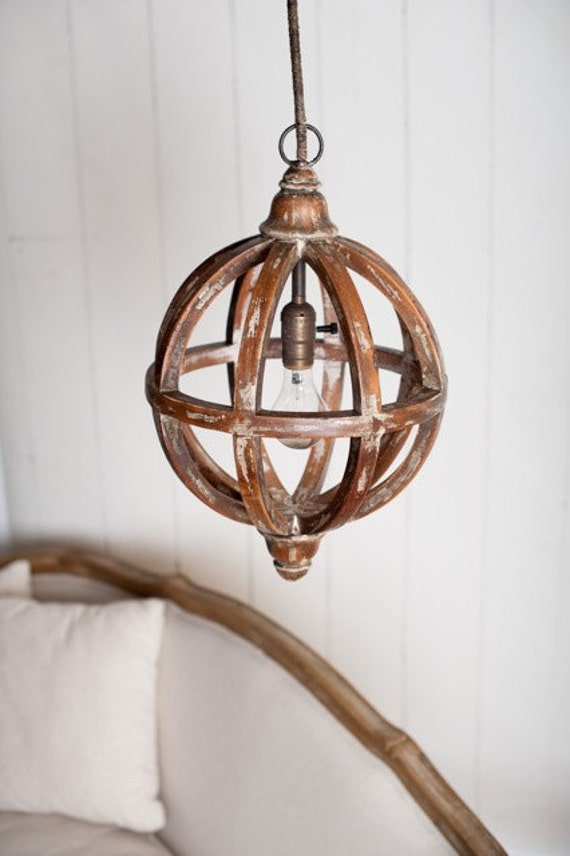 Distressed Wood Orb Pendant Light Distressed by