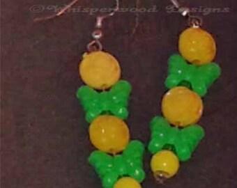 Green Butterflies & Yellow Roses