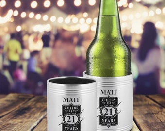 Personalised Engraved Birthday Stainless Steel Stubby Holder with Insulation