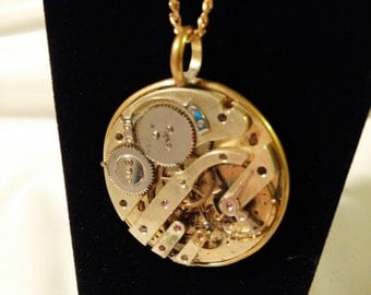 Christmas Sale - Steam Punk  Watch Movement Necklace - Large Pocket Watch