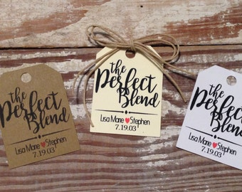 The Perfect Blend tea bag favor, Coffee favor, Personalized tags, Wedding favor tags Wedding gift tags Small favor tags, Custom tags