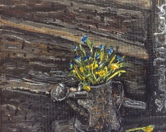 Antique Watering Can Mini Oil Painting