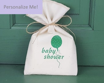 Baby Shower Favor Bag, Muslin Bag, Green Balloon, Fabric Bag, 5 x 8