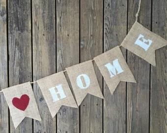 Burlap Happy Home Banner