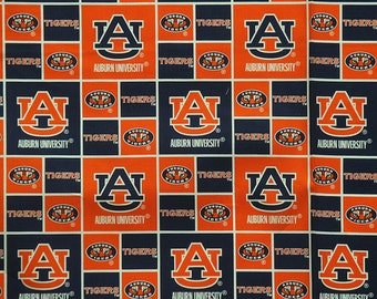 Auburn Tigers Football Checkered  Sheeting Fabric Cotton 4 Oz 44-45""
