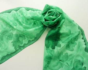 "Hand painted silk scarf. Handpainted silk scarf. Green silk scarf with painted green leaves. 10 x 60"", 25 x 150cm."