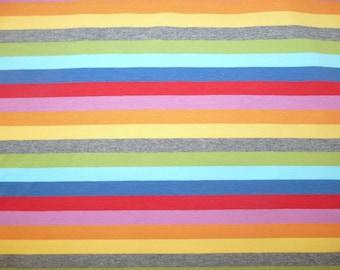 Fabric - jersey fabric - engineered 15mm width rainbow stripe  - fat quarter