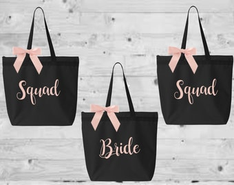 bridal totes, monogrammed tote, personalized tote, bridesmaid tote, bride tote, bridesmaid gift