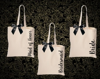 bridal totes, monogrammed tote, personalized tote, bridesmaid gift, bride tote, bridesmaid tote, SIDE