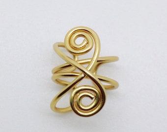 Dainty Gold Wire Ear Cuff, Gold Ear Wrap, Punk Jewelry, Boho Jewelry, Non Piercing, Fake Ear Cuff, Cosplay Jewelry, Gypsy, Fake Piercing