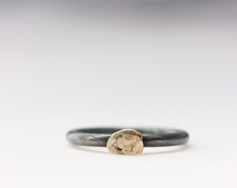 Oxidized Sterling Silver with 14k Gold on top
