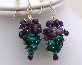 Amethyst - Turquoise Cluster Earrings