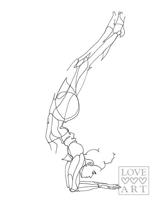 Line Drawing Yoga Pose : Yoga art print forearm stand or feathered peacock pose