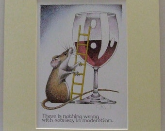 Simon Drew signed print Wine animal art mounted animal pop into frame BNIB Humourous etsy global gift
