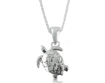 Turtle Sterling Silver Charm Necklace, TRT1-6118