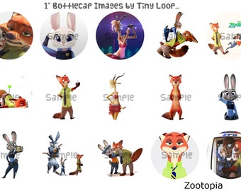 "15 Zootopia Bottlecap Images 1"" Circle 4x6 Instant Download"