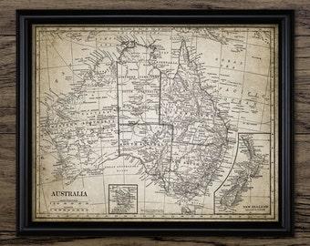 Vintage Map Of Australia - Rustic Australian Map - Australia - Printable Art - Single Print #342 - INSTANT DOWNLOAD