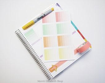 Ombre Full Weekly Box Sticker Sheet : Sherbert Theme Planner Stickers