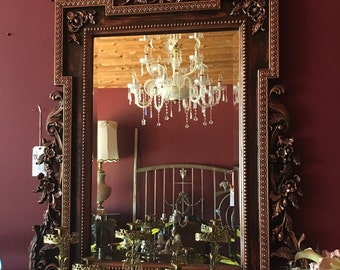 Large Vintage Wall Mirror in Dark Frame