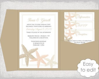 Destination Wedding Invitation Pocket Template DIY Ecru Sand Champagne Beach Templates Starfish
