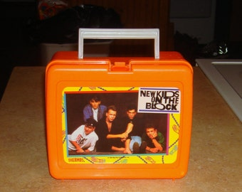 Vintage 1990 New Kids on the Block Orange Lunch Box/Thermos