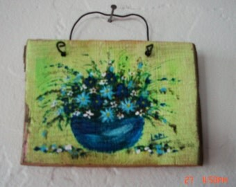 Original Hand Painted Miniature Floral Painting on Reclaimed Wood Blue Green Flowers Turquoise