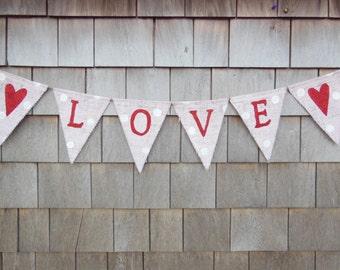 Valentines Day Decor, Valentines Banner, Valentines Burlap Garland Bunting, Love Banner, Glitter Heart Banner, Happy Valentines Photo Prop