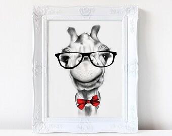 Hipster giraffe print, giraffe art, giraffe drawing, animals in glasses, wall art, art print, hipster animals