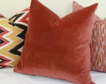 Rust velvet throw pillow cover 18x18 20x20 22x22 24x24 26x26 16x26 16x24 14x26 14x24 Euro sham velvet Lumbar pillow Burgundy velvet pilow