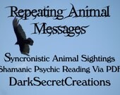 Repeating Animal Messages Shamanic Psychic Reading, Syncronistic Animal Sighting, Sent Via PDF