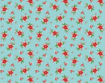 Pixie Noel - Riley Blake - Tasha Noel Fabric - #C5254-AQUA - Christmas Fabric - Holiday Fabric - Christmas in July - IN STOCK