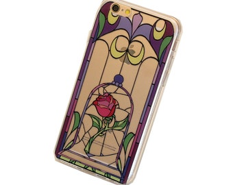 iPhone Magic Rose Stained Glass Case - Your choice of Soft Plastic (TPU) or Wood