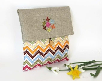 Fabric Clutch Make Up Bag , Linen Foldover Clutch , Chevron Clutch , chevron Foldover Make up Bag , Rainbow Bridesmaid Gift Bag , Travel Bag