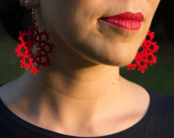 Handmade Tatting Earrings, cotton, color red, very light