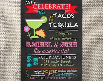 PRINTED or DIGITAL Fiesta Tacos and Tequila Baby Shower Chalk Margaritas Birthday Invitations 5x7 Customized Mexican Design 0.82 each