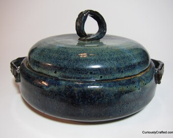 Hand Made Blue Ceramic Lidded Dish