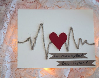 You Make my Heart Beat Faster, handmade valentines card