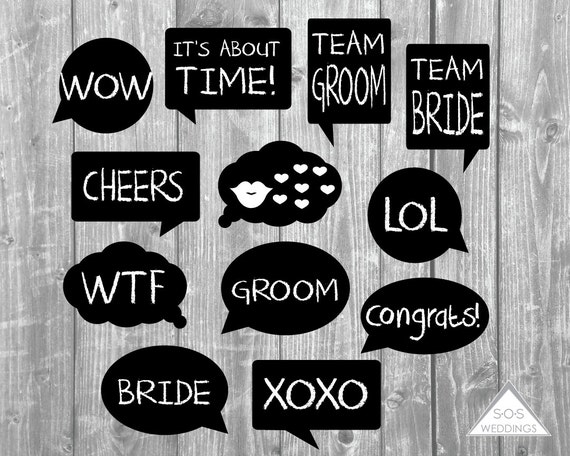 word bubble photo booth signs wedding photobooth signs photo booth props printable photobooth. Black Bedroom Furniture Sets. Home Design Ideas