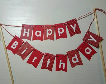 "Cake Bunting, ""Red"", Happy Birthday, Cake Topper, Paper cake banner"
