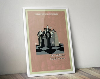 The Addams Family Values minimalist A3 print (framed or unframed options available)