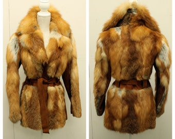 STUNNING 1970's FOX Fur & Suede Leather Coat with Huge Collar - Glam Rock S/M