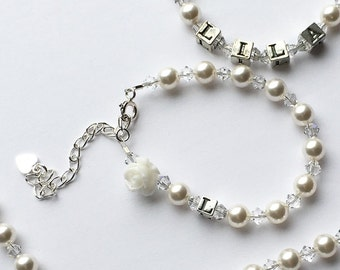 Personalized Sterling Silver Initial Bracelet- Swarovski White Pearl and Clear Crystal-Baby or Child