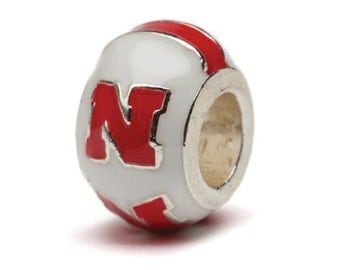 Cream and Scarlet University of Nebraska N Bead Charm - For Bracelet or Necklace - Fits Pandora