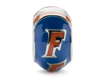 Blue and Orange Florida Gators Round Bead Charm - For Bracelet or Necklace - Fits Pandora
