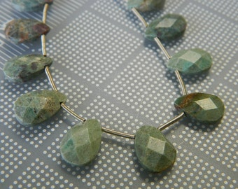 Hand Cut Ruby Fuchsite Faceted Flat Teardrops - Mid-Grade Ruby Fuchsite Top Drilled Faceted Teardrop Beads - 2 Beads Per Order