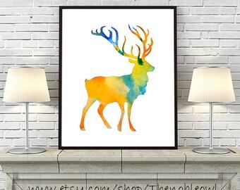 Watercolor Deer Art Print, Watercolor Painting Deer, Animal Art, Deer Watercolor Poster, Home Decor Wall Art - 222