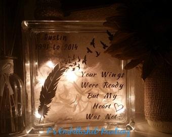 Angel Keepsake/'When Someone We Love is in Heaven...' Memorial Glass Block/In Sympathy/Bereavement/Memory Keepsake
