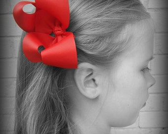 Red Hair Bow, Red Boutique Hair Bow, Red Hairbow, Red Hair Clip, Boutique Hair Bow, Hairbows, School Hair Bow, Hair Bows for Babies, Red Bow