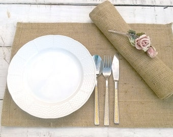 Burlap Placemats - Burlap Table Settings - Rustic Placemats - Rustic Table Settings - Rustic Napery - Set of 6 - Thanksgiving Tablemats