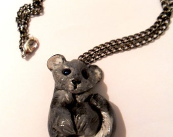 Chinchilla Necklace - Animal Pendant Necklace - Ploymer Clay Jewelry - Polymer Clay Necklace